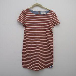 LOFT Stripe Orange White Sheath Dress Zip Back